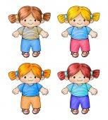 Photo Hand-drawn  illustration of childrens dolls