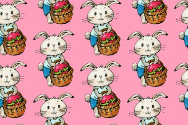 Seamless pattern with funny cartoon Bunnies