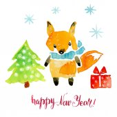 Photo New Years card with a fox