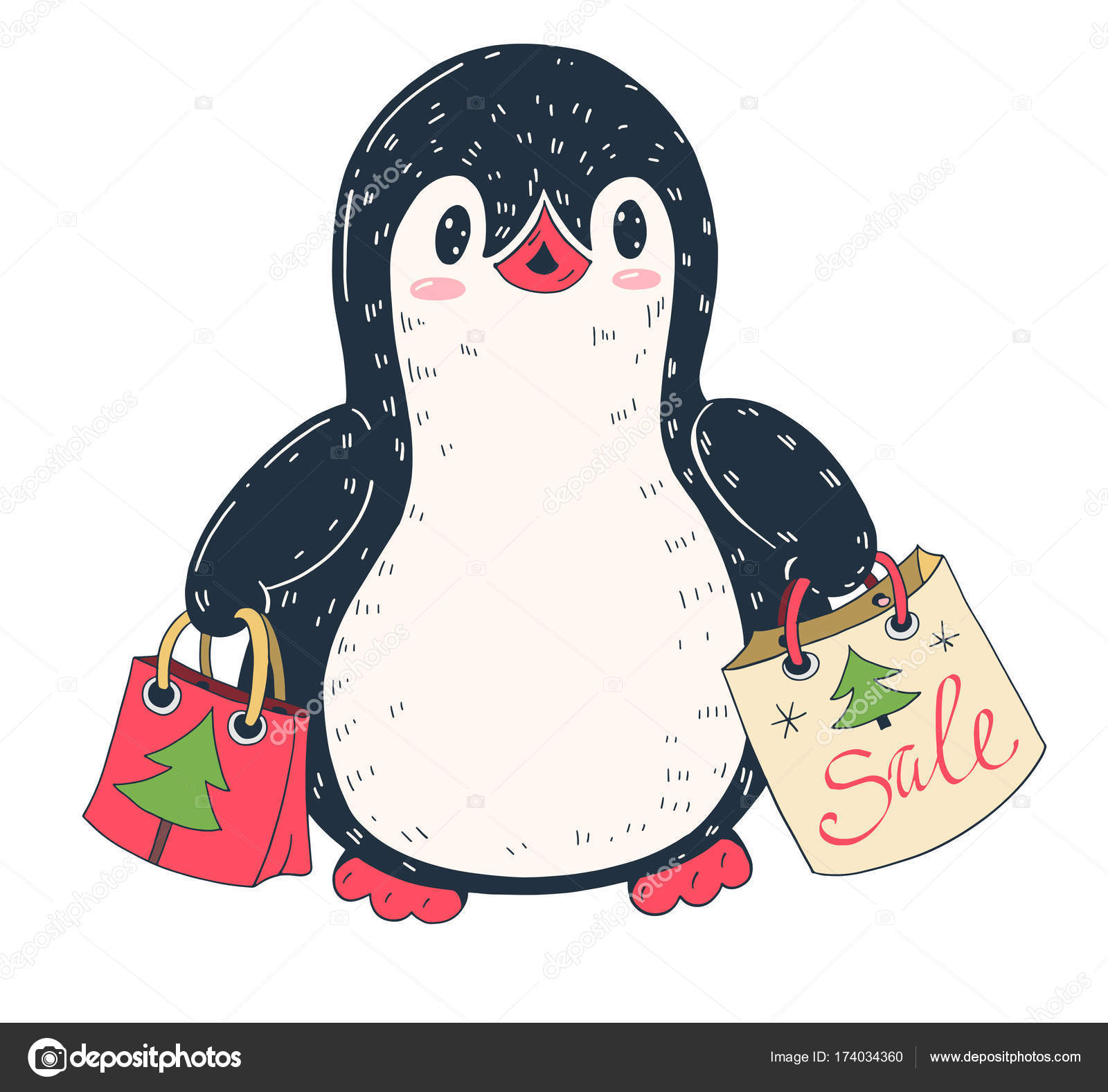 artoon penguin with Christmas gifts — Stock Vector © tiff20 #174034360