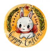 Photo Easter Bunny. A watercolor drawing.  Hand-drawn illustration.