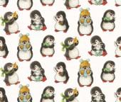 Fotografie Nahtlose Muster mit niedlichen Pinguine. Handgezeichnete Zeichnung mit Markern
