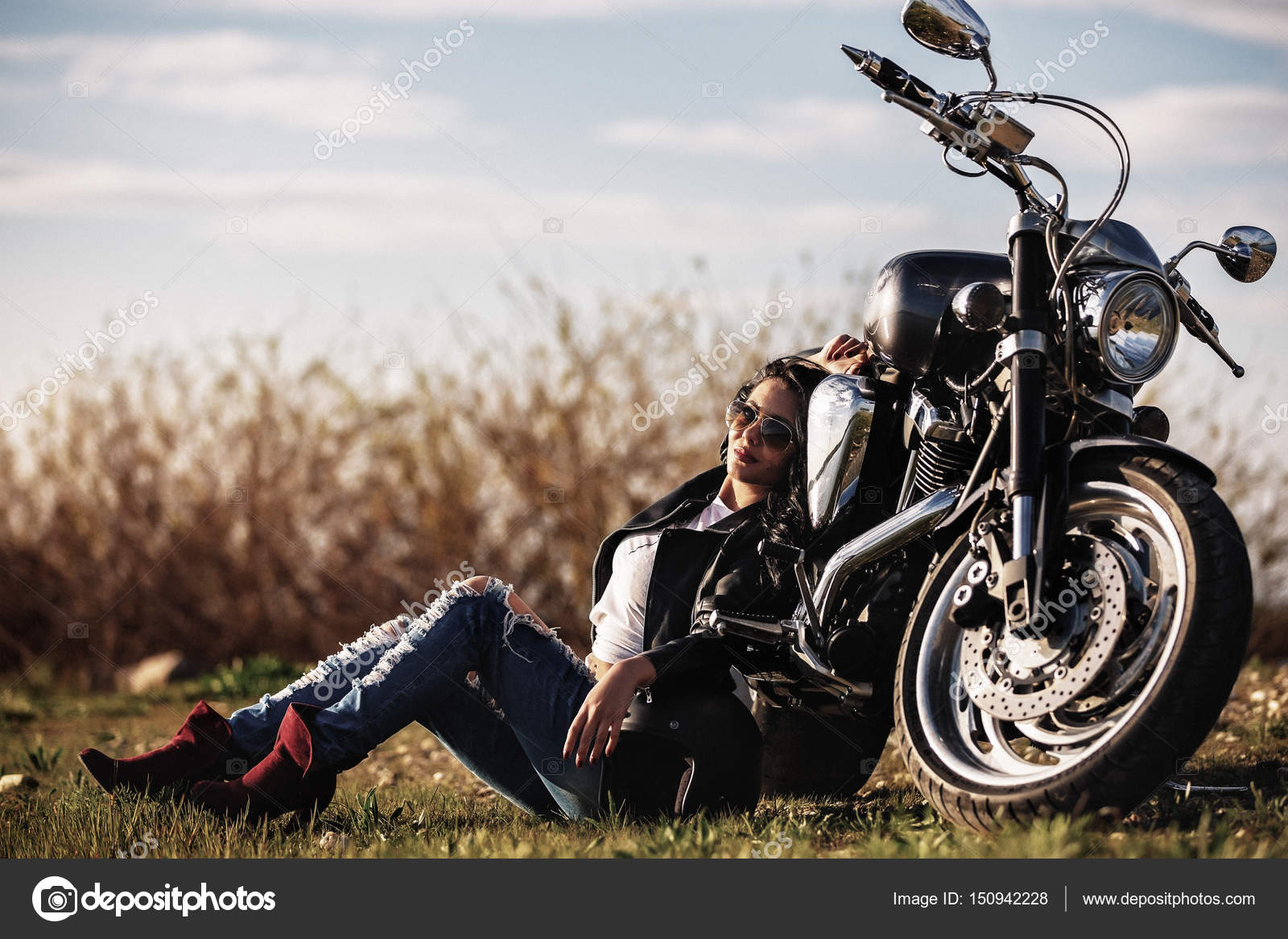 motorcycle photography c  Beautiful motorcycle brunette woman with a classic motorcycle (c ...