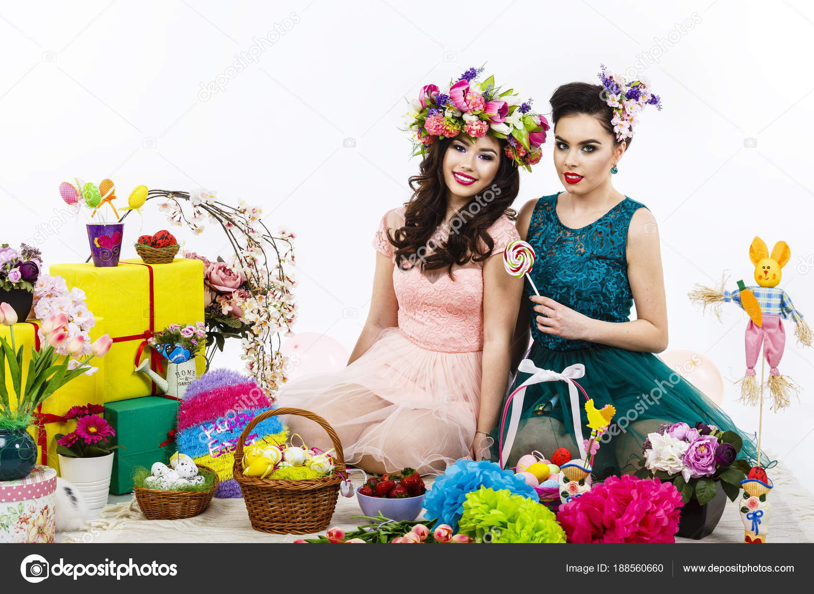 Two beautiful girlfriend girls basket with eggs and flower deco two beautiful girlfriend girls basket with eggs and flower decor style makeup and hairstyle enjoy the easter celebration photo by czamfir negle Images