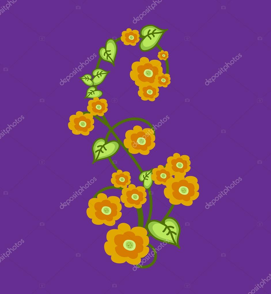 Flowers Swirl Element Vector