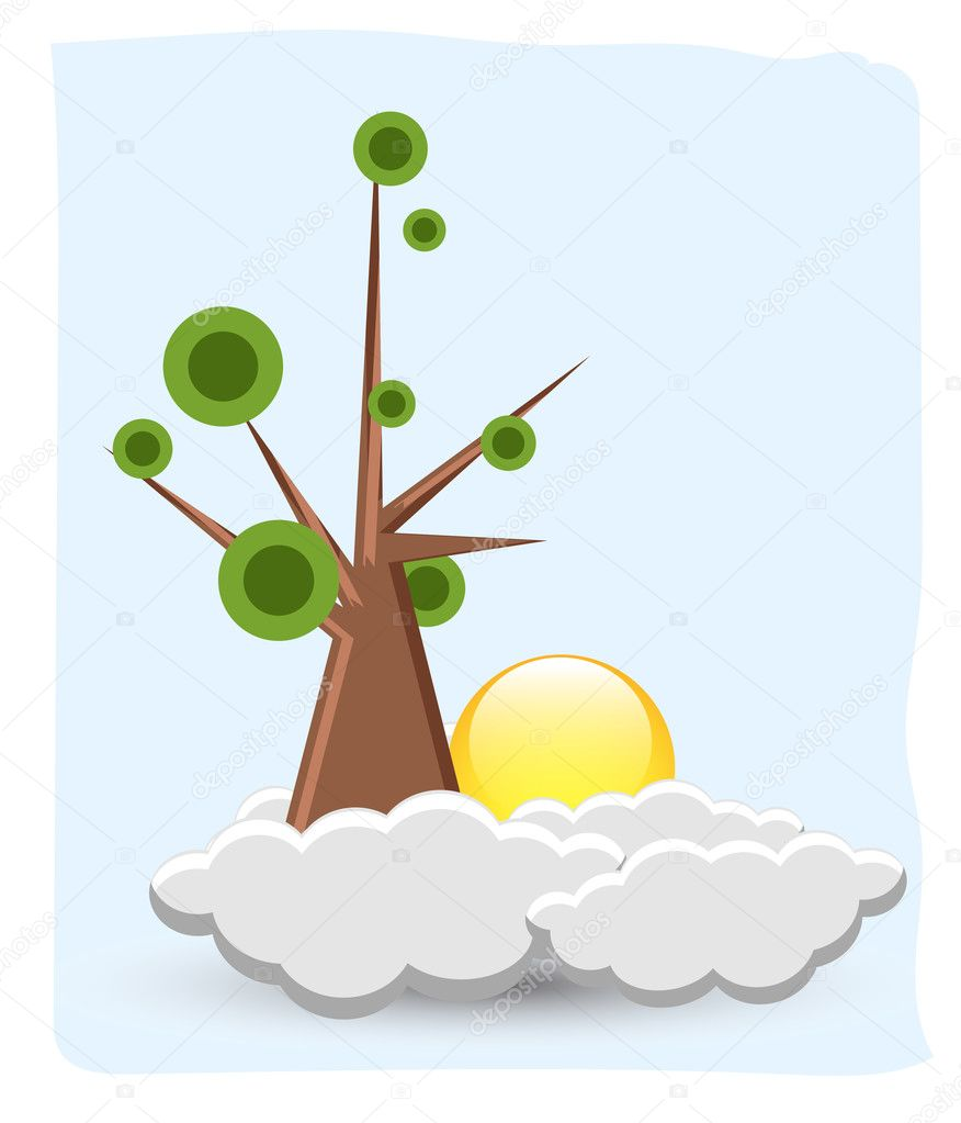 Comic Tree with Clouds and Sun
