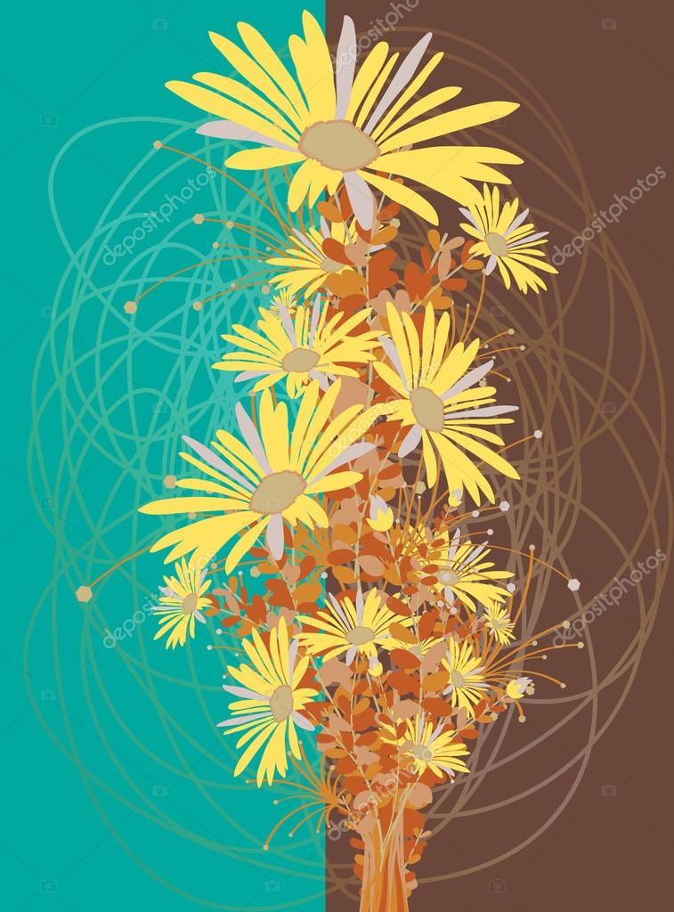 Vintage Yellow Flowers Bouquet Scribble Background