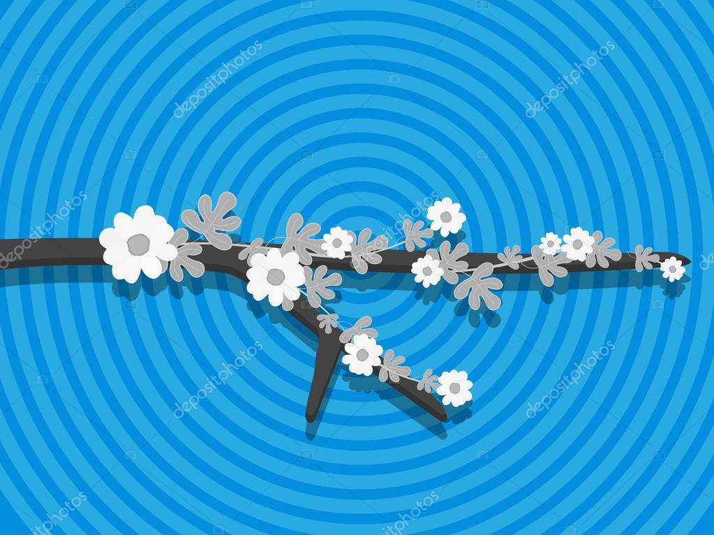 Vintage Flower Branch Isolated on Abstract Background