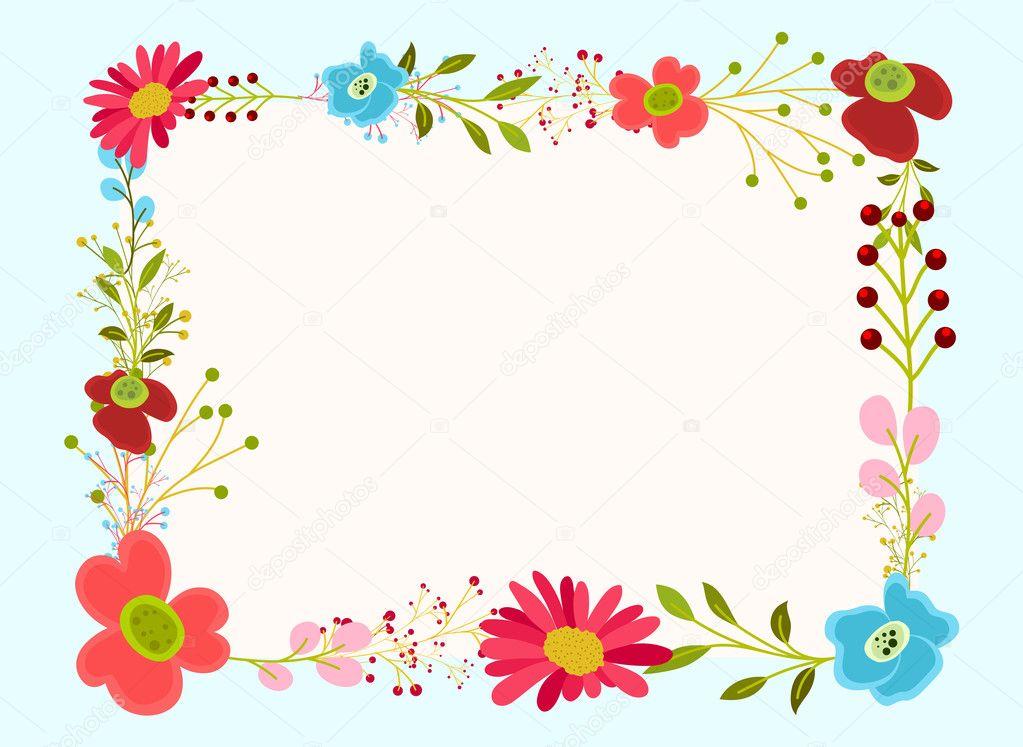 Diseño de marco de flores decorativas — Archivo Imágenes Vectoriales ...