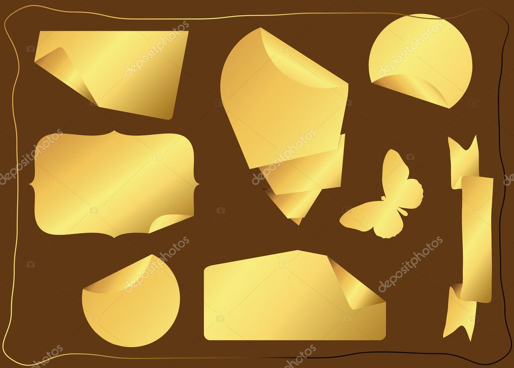 Goldene Aufkleber Und Sticker Vektoren Stockvektor
