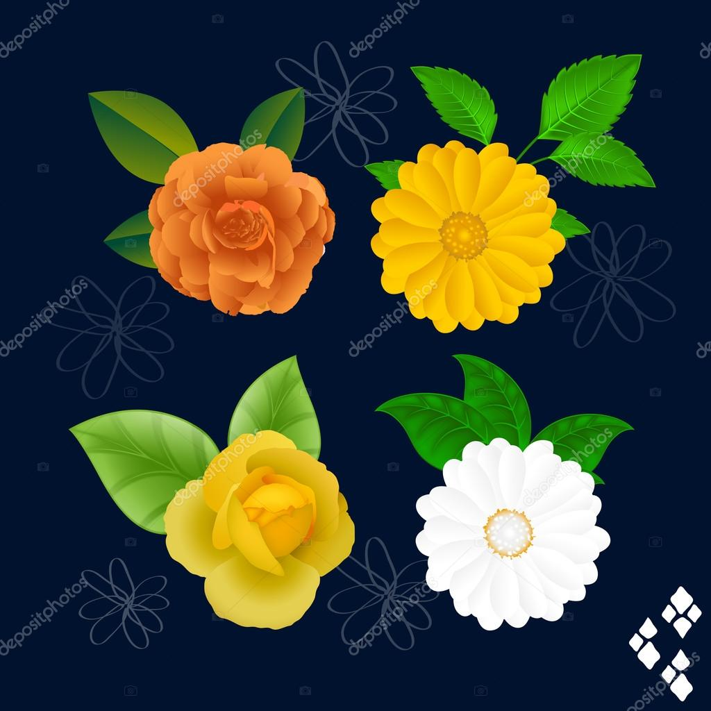 Bright Flowers Vectors