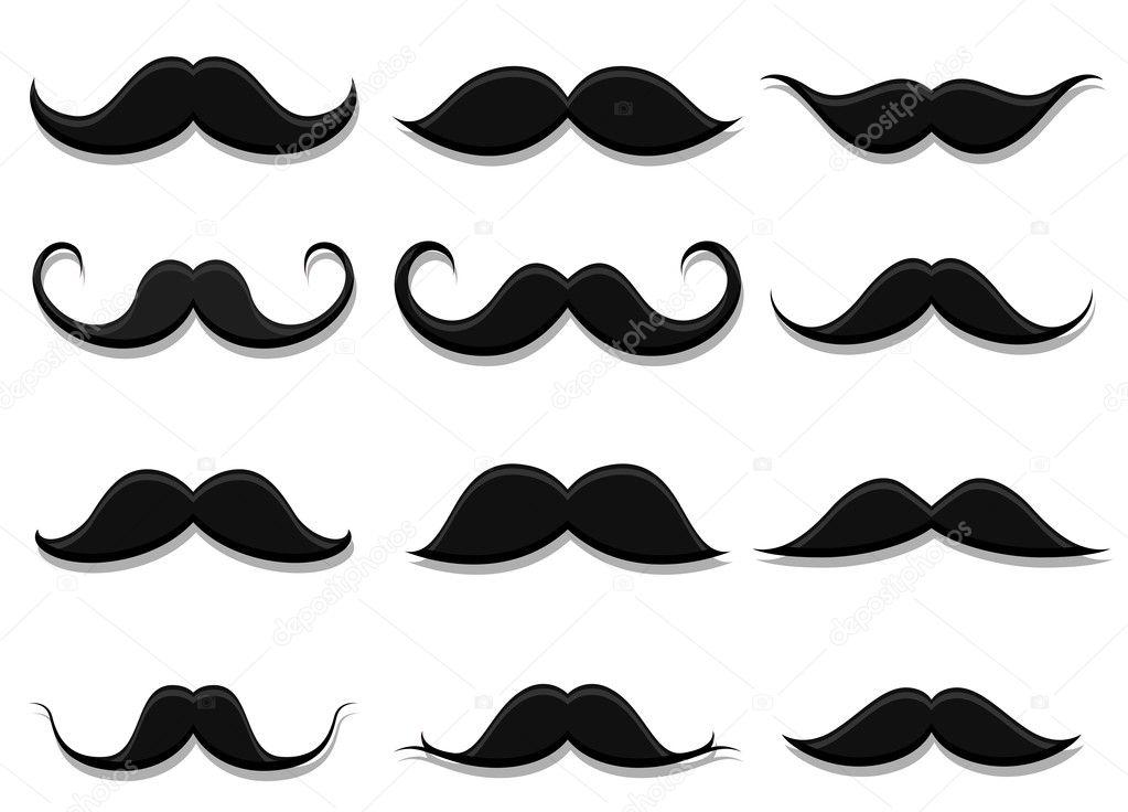 set of moustaches shapes stock vector baavli 126159026. Black Bedroom Furniture Sets. Home Design Ideas