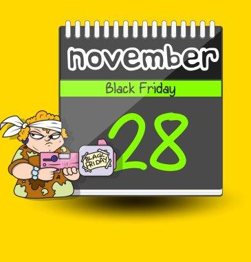 Soldier with Gun  Black Friday Calendar Vector