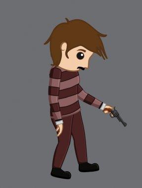 Upset Terrorist with Gun