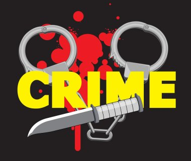 Handcuffs with Knife and Blood