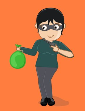 Female Thief with Gun and Money Bag