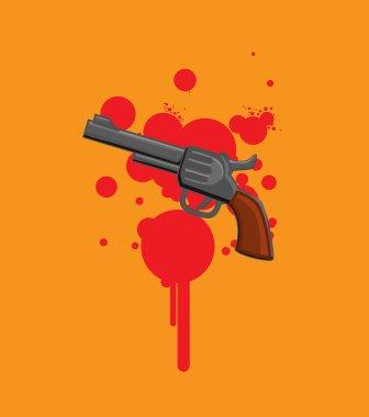 Gun Isolated on Blood - Murder Concept