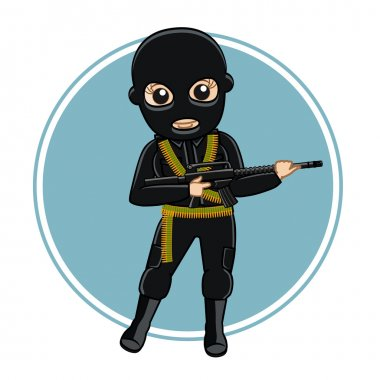 Female Robber with Gun in Black Suit