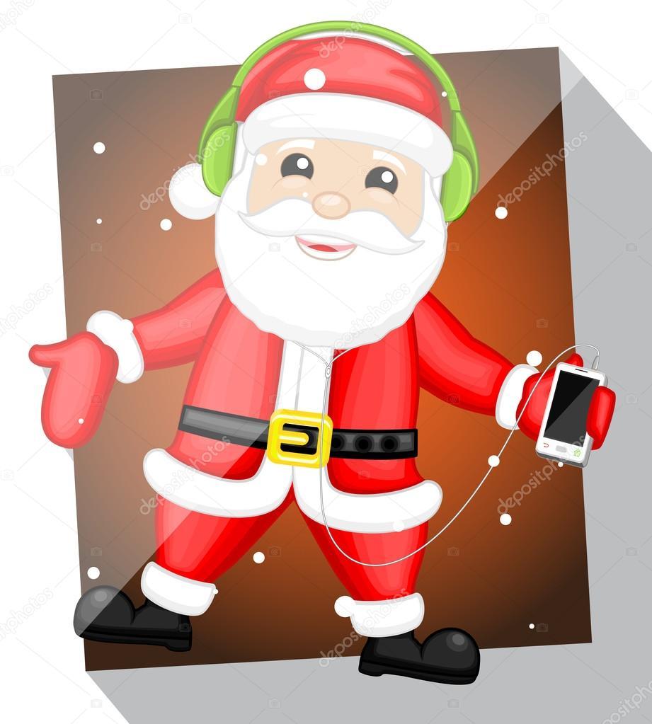 Cheerful Santa Claus Listening Music