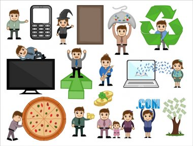 Technology and Business Cartoon Concepts