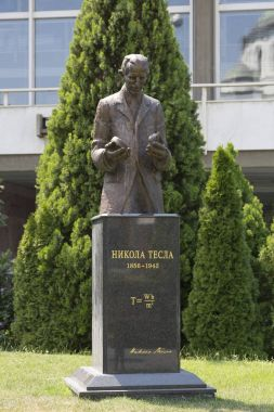 Monument to Nicolas Tesla in Belgrade near the building of the National Library of Serbia