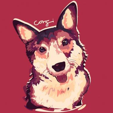 A vector illustration of Corgi Dog Painting Poster clip art vector