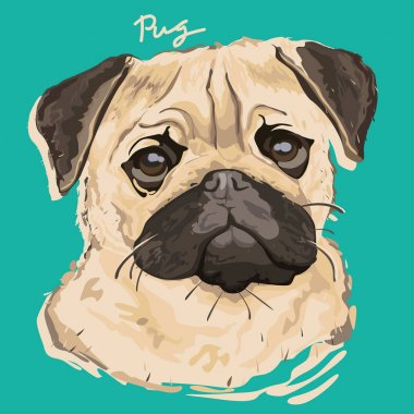 A vector illustration of pug painting poster clip art vector