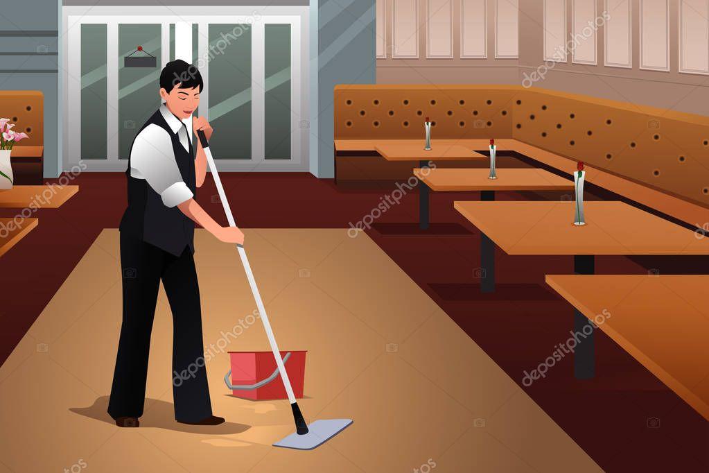 Trabajador de restaurante limpieza restaurante despu s del cierre archivo im genes vectoriales - Pulizia cucina ristorante ...