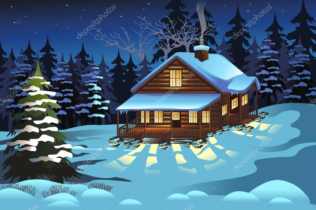 Cabin in the Woods During Winter Season