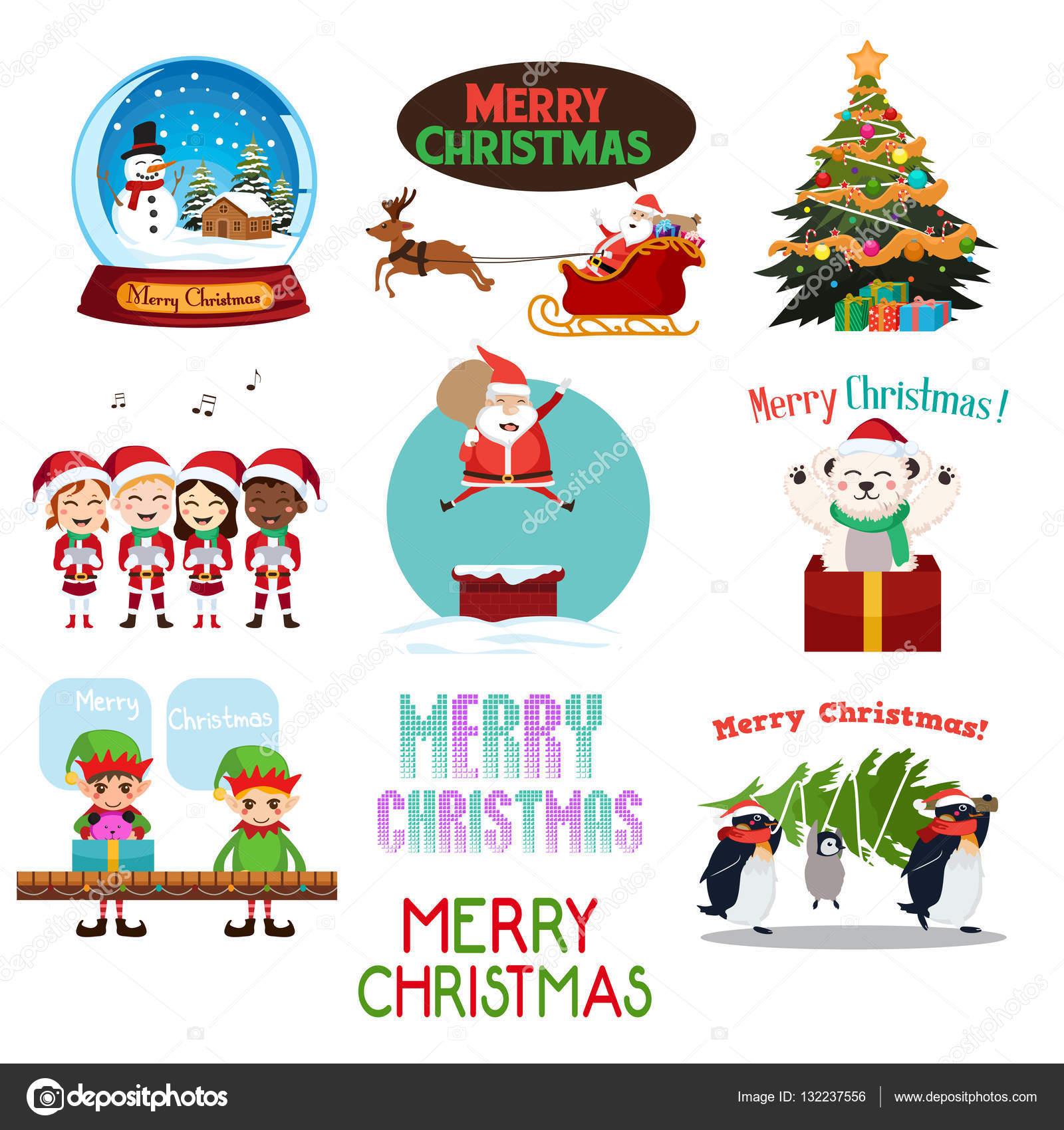 Weihnachts-Icons und Cliparts — Stockvektor © artisticco #132237556