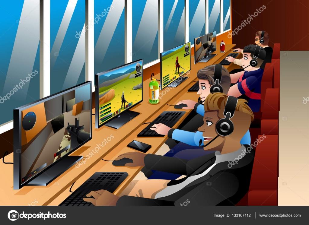 les jeunes de jouer des jeux sur un caf internet image. Black Bedroom Furniture Sets. Home Design Ideas