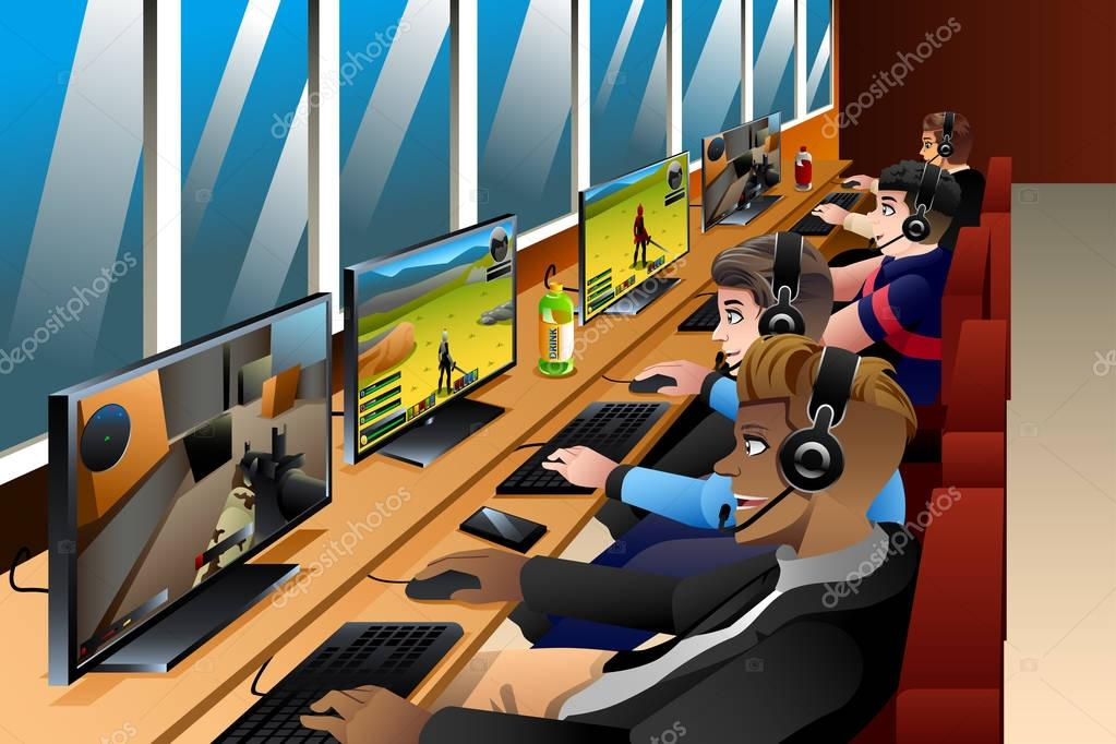 A vector illustration of Young People Playing Games on an Internet Cafe stock vector