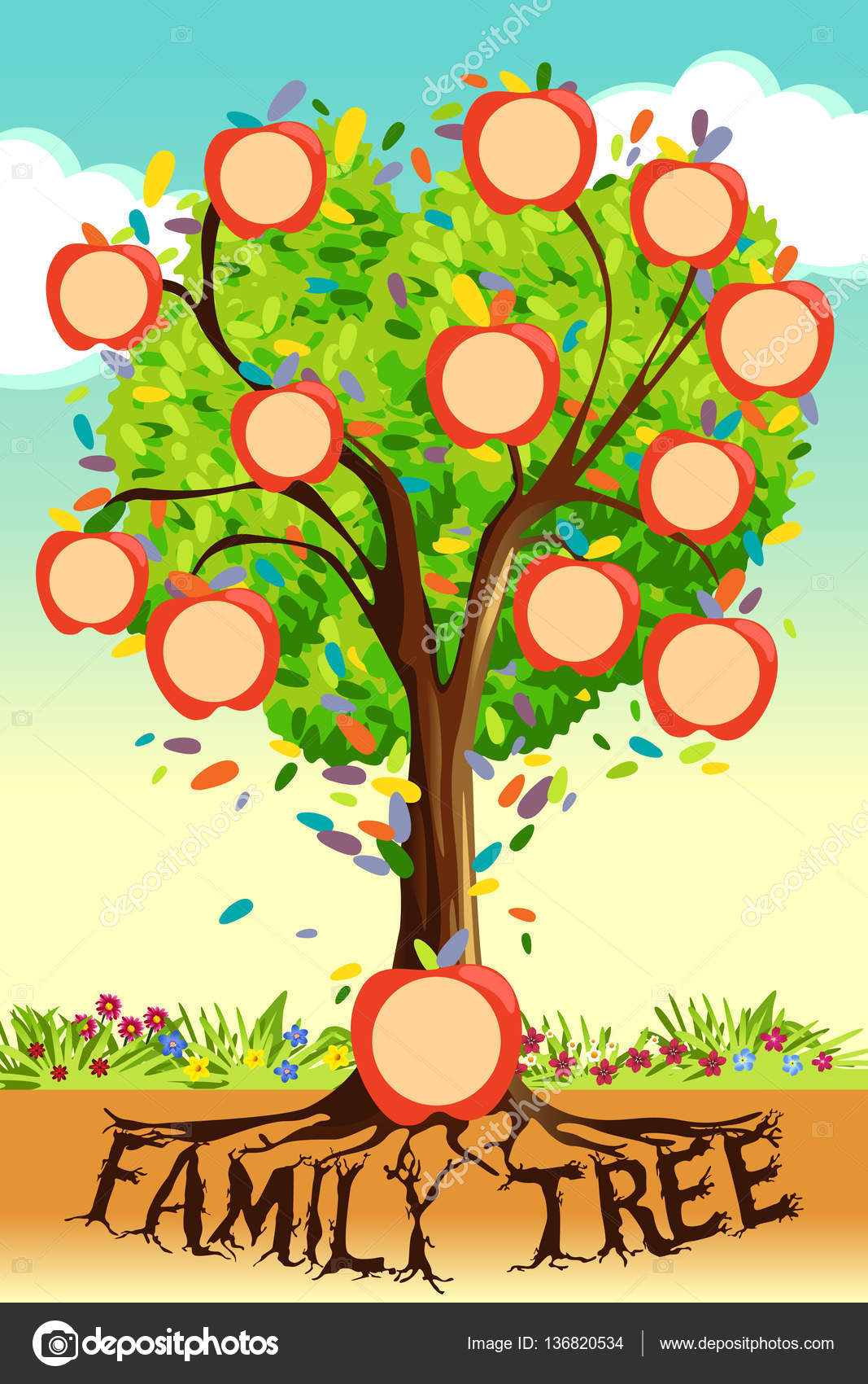 family tree template stock vector artisticco 136820534