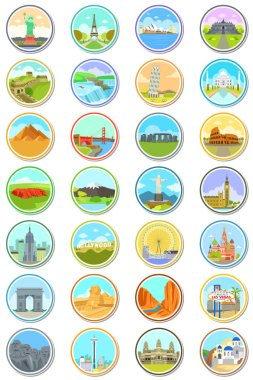 World Landmarks Travel Icons