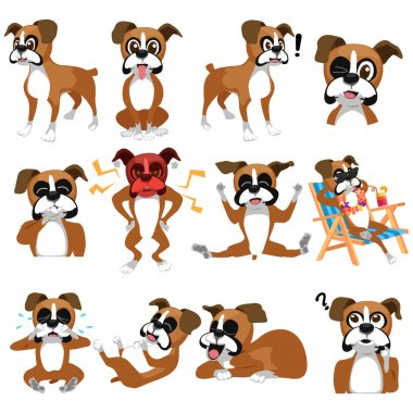 A vector illustration of a Boxer Dog Emoji Emoticon Expression clip art vector