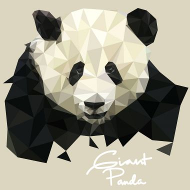 Panda Illustration in Mosaic Style