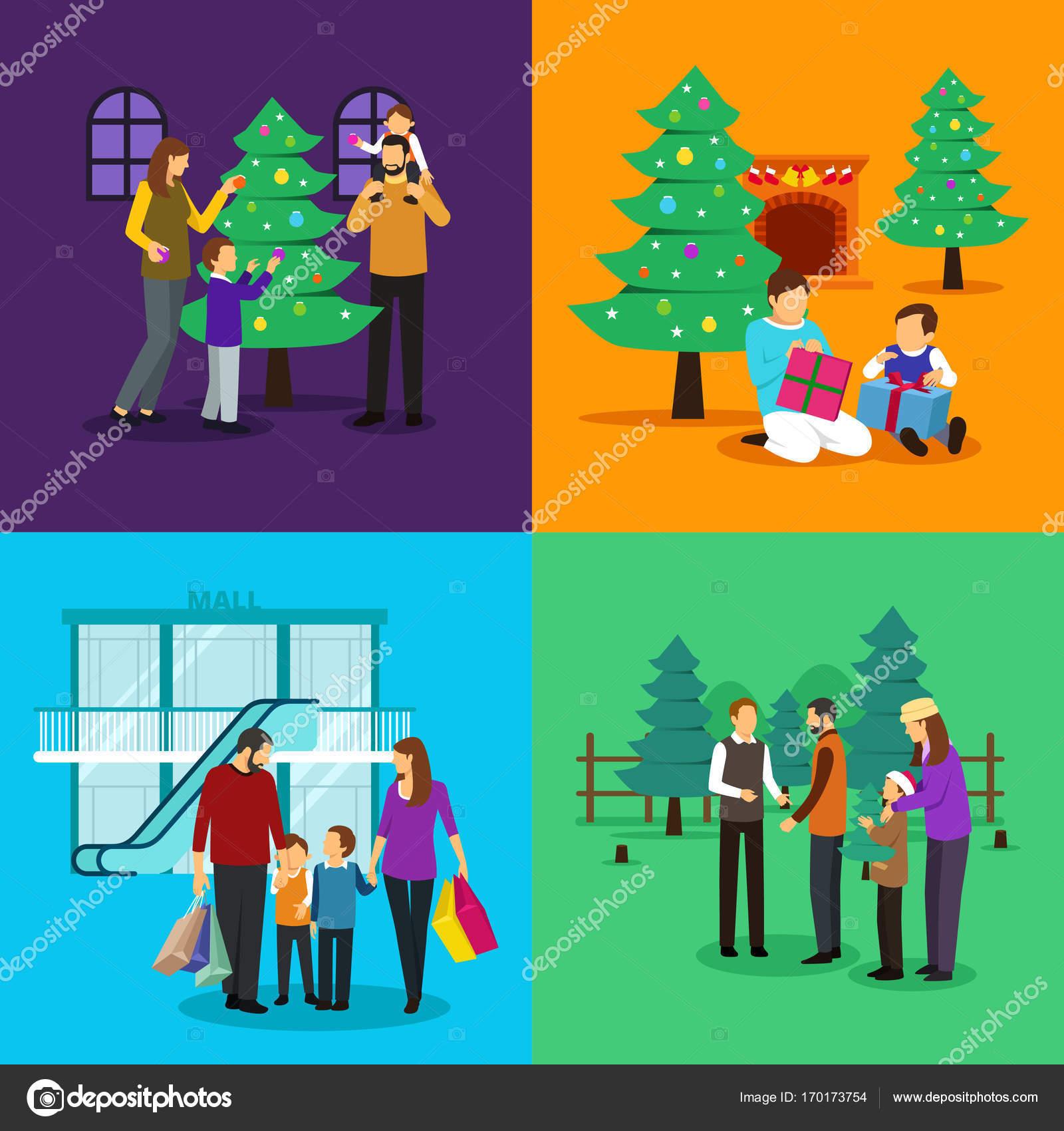 人を祝うクリスマス クリップアート イラスト — ストックベクター