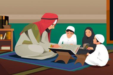 Imam Reading Quran With His Students Illustration
