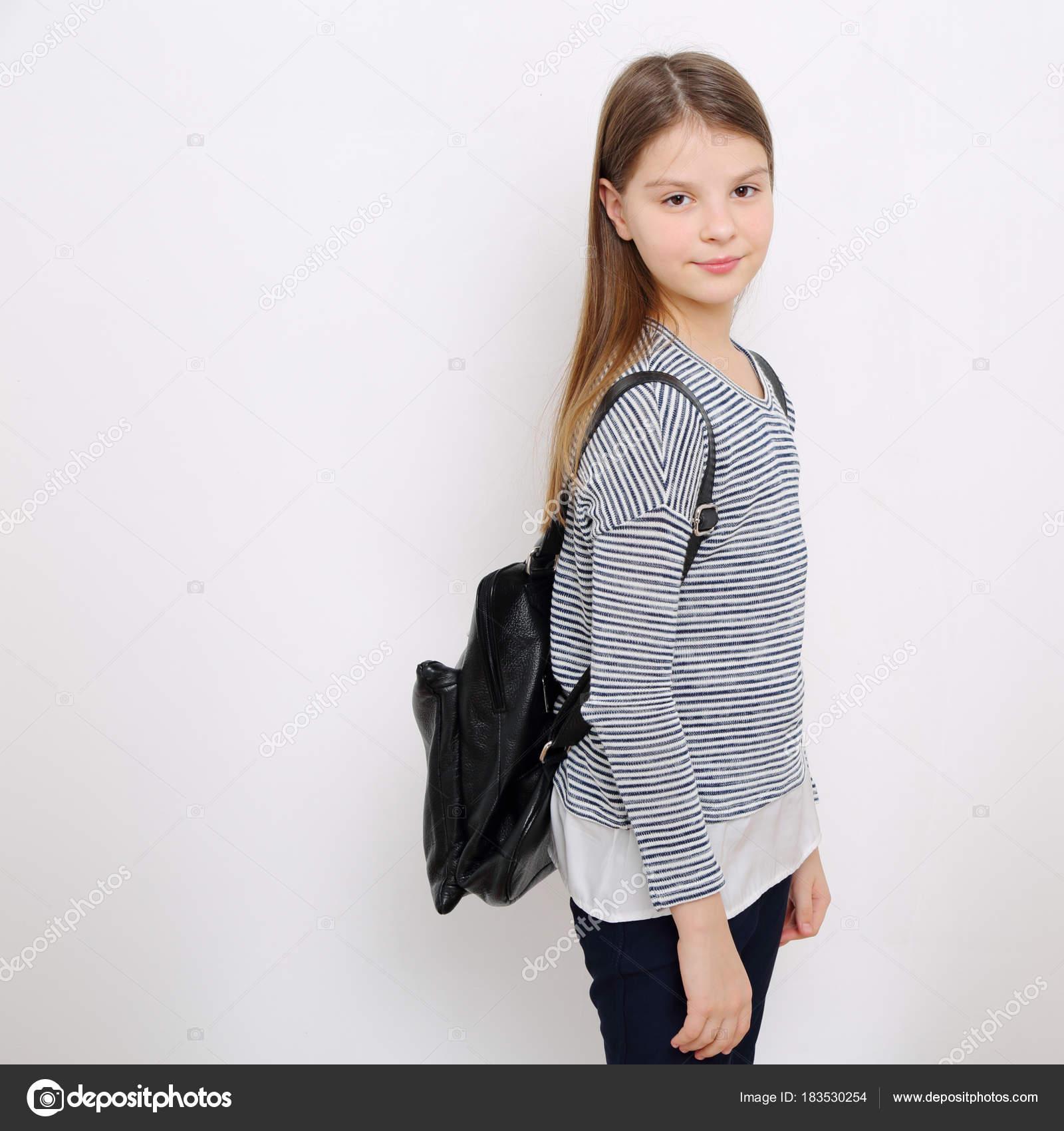 School Teen Little Girl Stock Photo