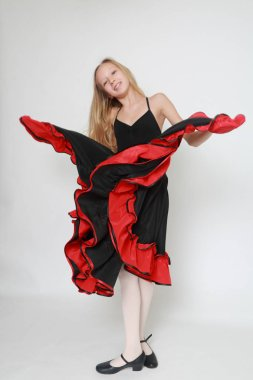 Studio image of flamenco dancer