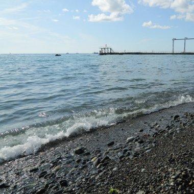 Seaside over Black Sea in Sochi,Russian Federation. Selected Focus.