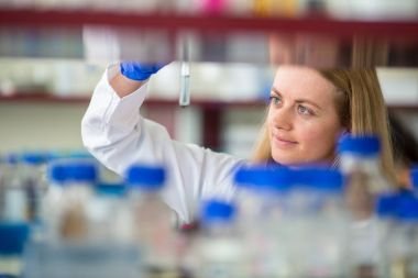 Portrait of a female researcher doing research in a lab