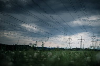 High-voltage power lines. electricity distribution station