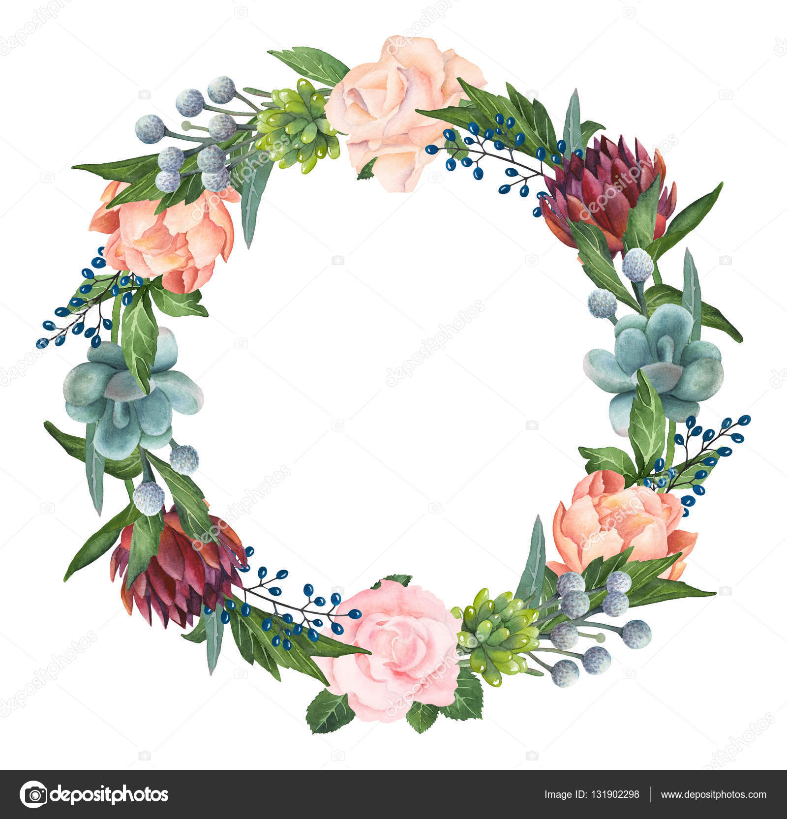 Hand-painted Watercolor Roses, Succulents And Peonies Wreath u2014 Stock Photo u00a9 kotulska #131902298