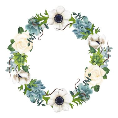 Hand-painted Watercolor Anemones And Succulents Wreath