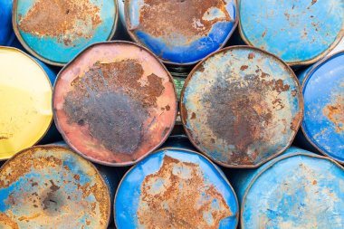 Rusted oil tins