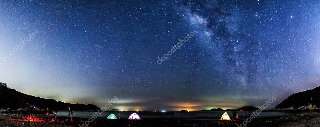 Milky Way panorama at night in Hong Kong along coast