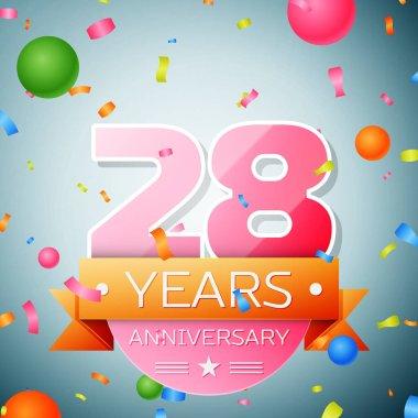 Twenty eight years anniversary celebration background. Anniversary ribbon