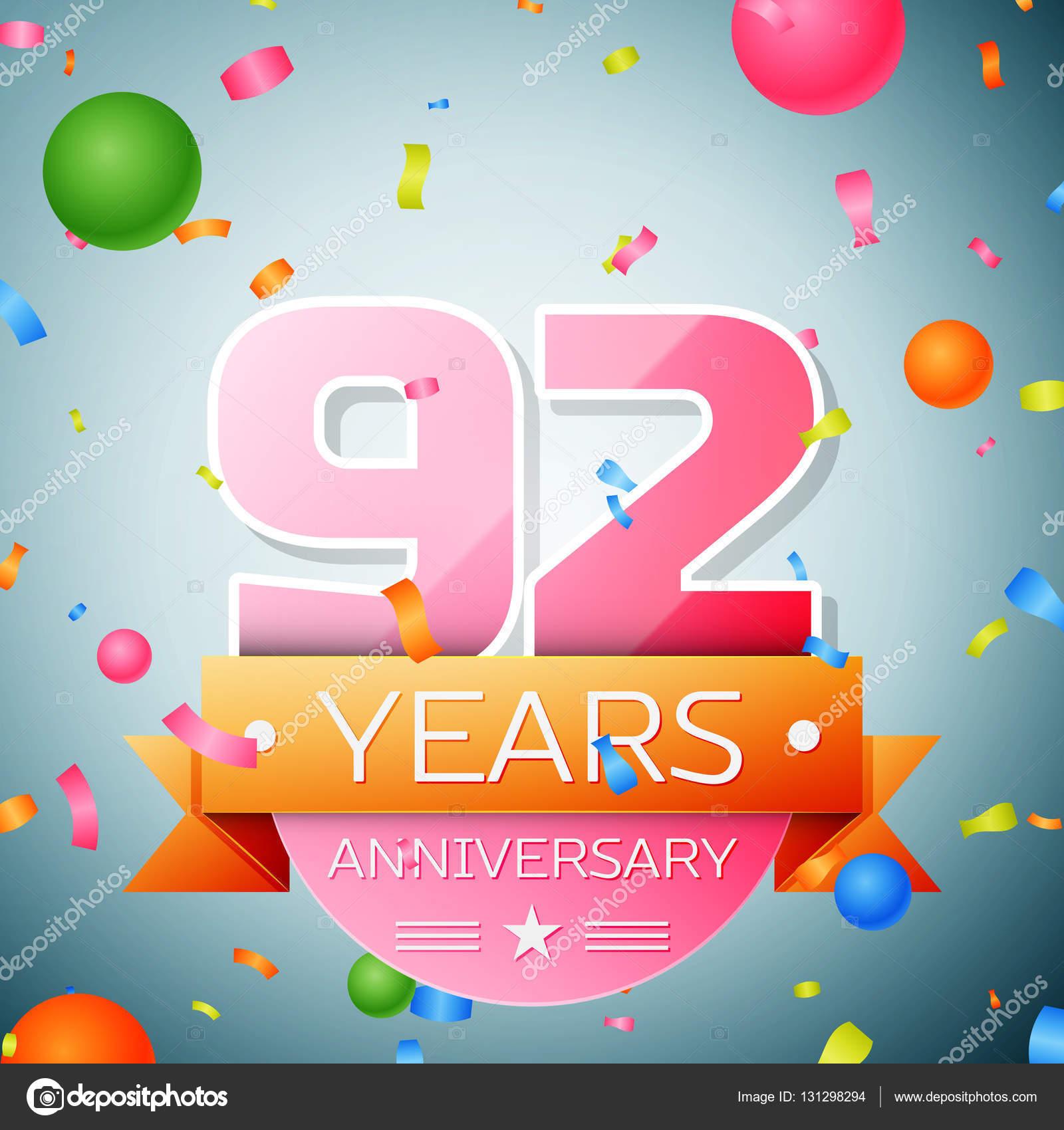 Negentig Twee Jaar Verjaardag Viering Achtergrond Verjaardag Lint