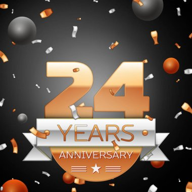 Twenty four years anniversary celebration background with silver ribbon confetti and circles. Anniversary ribbon. Vector illustration.